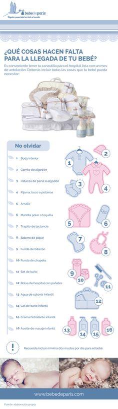 Interesante futuras Mamás y Papás. ¿Qué cosas incluir en una canastilla de hospital para el futuro bebé? #Infografía #Bebé #Canastilla
