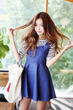 Stripe Tee Dress Set | Korean Fashion