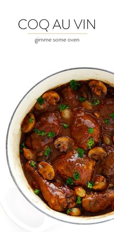 This classic Coq Au Vin recipe is surprisingly easy to make, and slow simmered in the most delicious French red wine sauce. | http://gimmesomeoven.com