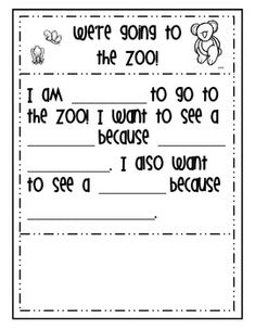 Zoo writing paper