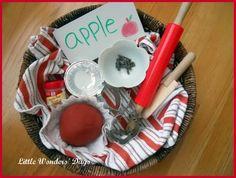 Apple pie play dough, apple preschool theme