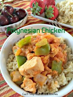 Polynesian Chicken   Can't Stay Out of the Kitchen   Have supper on the table the quick and easy way with this lovely #chicken entree. It's made with bell peppers, onions & #pineapple and can be ready in about 30 minutes! #glutenfree