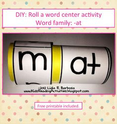 A Roll-a-Word activity to teach word families. It includes FREE printables.