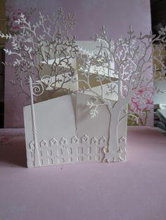 White on white cascading card