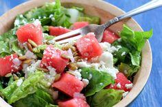 Watermelon and Feta Salad with Raspberry Balsamic Vinaigrette