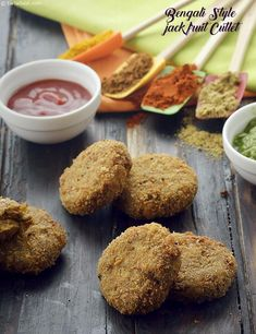Bengali Style Jackfruit Cutlet, Echor Cutlet recipe | by Tarla Dalal | Tarladalal.com | #36276 Jackfruit Recipe Indian, Raw Jackfruit, Jackfruit Recipes, Veg Recipes, Indian Food Recipes, Vegetarian Recipes, Snack Recipes, Cooking Recipes, Recipies