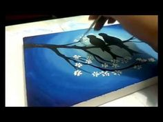 Beginners Acrylic Painting Tutorial- Autum Birds On A Branch - YouTube