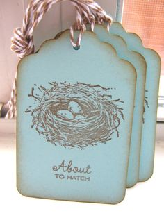 About to Hatch Nest Baby Shower Gift Tags by CharonelDesigns, $4.95