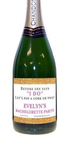 Bachelorette Party Champagne Labels (Set of 6) Water Proof Wedding Bachelorette Gold Sparkle Bridal Shower Label
