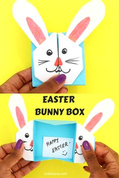 Easter bunny box for kids. Cute Easter paper craft idea for school aged kids and tweens. Super fun way to teach your kids the basic origami skills. Bunny Crafts, Easter Crafts, Holiday Crafts, Paper Crafts For Kids, Crafts To Make, Craft Kids, Homemade Crafts, Easter Art, Easter Bunny