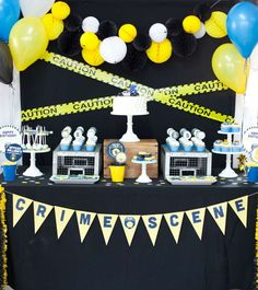 Amazing dessert table at a policeman birthday party! See more party planning ideas at CatchMyParty.com!