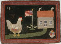 Pictorial Hooked American Rug: Ms. Hen
