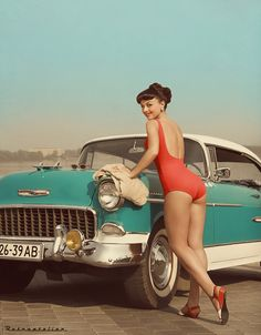 glamour girl and retro car