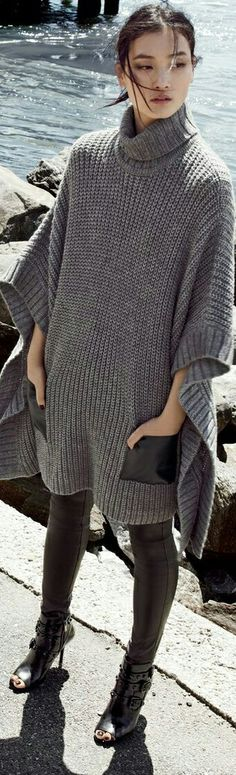 Leather pockets - I'm knitting a poncho just like this. Love the idea of the pockets.