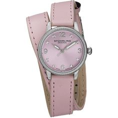 Stuhrling Original Women's Vogue Swiss Quartz Austrian Crystal Double... ($73) ❤ liked on Polyvore featuring jewelry, watches, pink, cocktail jewelry, crown jewelry, analog wrist watch, water resistant watches and special occasion jewelry