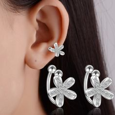 Find More Clip Earrings Information about no pierced Ear Clips Earring For Women Fashion Jewelry CZ Flower Ear Cartilage Ear Cuff Clip on Earrings without Piercing,High Quality clip on earring,China clip dangle earrings Suppliers, Cheap earring lot from Vinnago Franchised Store on Aliexpress.com