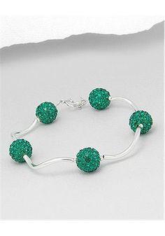 Wonderful Emerald Crystal Bracelet Sterling Silver