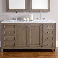 "Found it at Wayfair - Chicago 60"" Double White Washed Walnut Bathroom Vanity Set"