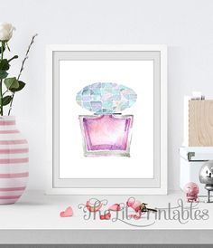 Perfume Printable, Makeup Wall Decor, Teen Wall Art Print, Makeup Printable, Makeup Art, Makeup Room Decor Teen Wall Art, Pink Wall Art, Wall Art Prints, Beauty Room Decor, Makeup Room Decor, Printable Designs, Printable Art, Online Printing Companies, Pink Walls