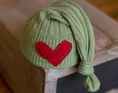 Newborn Christmas Hat Upcycled Green Sleepy Time Elf Hat with Red Heart READY TO SHIP photography prop