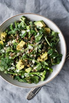 Raw Broccolini, Lentil and Tahini Salad | Vegan and gluten free.
