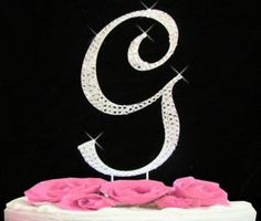Large Rhinestone Crystal Monogram Letter G Wedding Cake Toppers 5 inches Tall. YES!