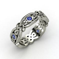 Sterling Silver Ring with Sapphire | Brilliant Alhambra Band | Gemvara