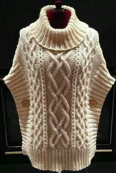 Crochet Sweater Vest Pattern 21 Ideas For 2019 Baby Knitting Patterns, Crochet Poncho Patterns, Knitted Poncho, Knitting Stitches, Knitting Designs, Knit Cowl, Knitting Ideas, Cable Knit, Crochet Pullover Pattern