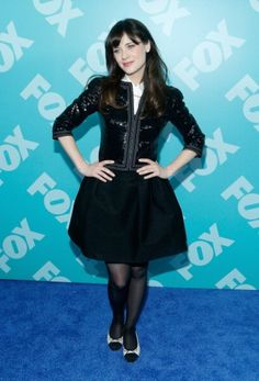 Zooey Deschanel's Black sequinned jacket with black skirt and two tone flats at Fox party. Outfit Details: http://wwzdw.com/z/4095/ #WWZDW