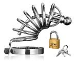 www.littlesextoys.com is proud to announce the Master Series 6 Ring Locking Chastity Cage, The While wearing this devious chastity cage. Simply place him in the cage and fasten the base ring behind the testicles, then lock him up with the enclosed lock and key set.