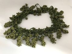 Military green grape bead necklace, st.patrick's day gift,  jewelry handmade, textile necklace,crochet oya, anatolian necklace, hippie, boho by BendisGalata on Etsy Seed Bead Necklace, Seed Bead Bracelets, Seed Beads, Crochet Necklace, Beaded Necklace, Fashion Jewelry Necklaces, Handmade Necklaces, Handcrafted Jewelry, Ethnic Jewelry