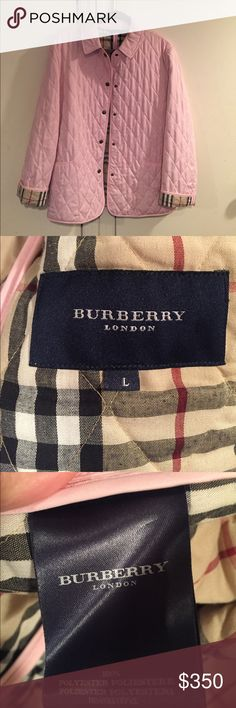 """Burberry quilted jacket - size L Light pink Burberry quilted jacket. Snap buttons. Pre-owned in excellent condition. Size L.  Measures approximately 21"""" from armpit to armpit, 26.5"""" from shoulder to hem. Burberry Jackets & Coats"""