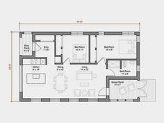 GO Logic 1000 SF prefab home model - plans. Very smart design. House Plans One Story, Best House Plans, Small House Plans, House Floor Plans, 1000 Sq Ft House, Building A Small House, Build House, Small Modern House Plans, Cottage Plan