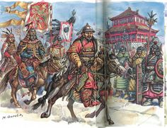 Mongol Army leaves Karakorum 13th c. - art by M. Gorelik