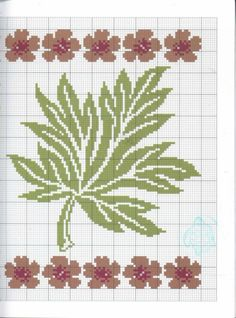 Cross Stitch Tree, Just Cross Stitch, Beaded Cross Stitch, Crochet Cross, Cross Stitch Flowers, Crochet Leaf Patterns, Crochet Leaves, Embroidery Leaf, Cross Stitch Embroidery