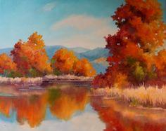 Mountain Pond, Autumn - SOLD, painting by artist Nel Jansen