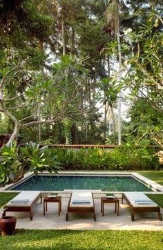If you are working with the best backyard pool landscaping ideas there are lot of choices. You need to look into your budget for backyard landscaping ideas Small Backyard Pools, Small Pools, Outdoor Pool, Indoor Pools, Lap Pools, Pool Decks, Tropical Pool, Tropical Garden, Villa