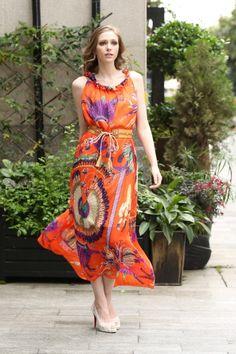 Orange scarf print maxi dress