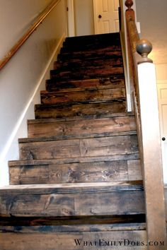 stained and distressed stairs Rustic Basement, Man Cave Basement, Rustic Stairs, Farmhouse Stairs, Pallet Stairs, Garage Stairs, Basement Stairs, Basement Carpet, Basement Plans