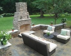 Outdoor Concrete Patio Design Decorated with Brick Fireplace Gorgeous Patio Design Placed in Your House