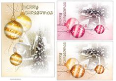 Glimpses Of Christmas by Eliza Brown 3 card toppers of baubles hanging down in…