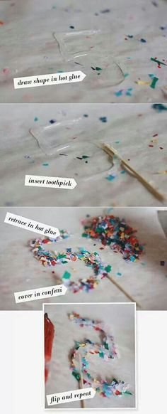 Confetti Cake Toppers 2019 Hot glue confetti parchment paper = never ending possibilities for cake toppers ornaments or party decorations. The post Confetti Cake Toppers 2019 appeared first on Birthday ideas. Bolo Confetti, Diy Confetti, Paper Confetti, Glitter Confetti, Candybar Wedding, Wedding Cakes, Wedding Gifts, Birthday Fun, Birthday Parties