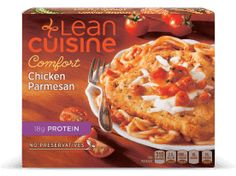 This flavorful meal has of protein and features lightly breaded white meat chicken topped with parmesan cheese and paired with spaghetti in a tomato basil sauce. Pasta Recipes, Real Food Recipes, Lean Cuisine, Chicken Patties, Microwave Recipes, Frozen Chicken, Frozen Meals, Eat Smart, White Meat
