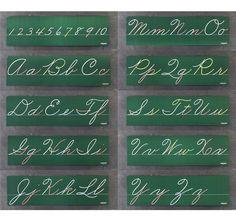Cursive Lettering Boards, over our blackboards in grade school.