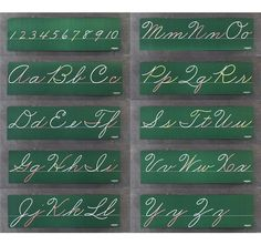 Cursive Lettering Boards - there was a row of these across the top of the blackboard