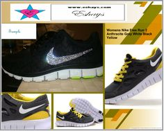 www.eshays.com - Yellow Nike Sneakers with rhinestones on tick swoosh 28e3502a8