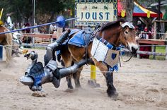 Mark Desmond(left) and Charlie Andrews(right), double unhorsing sequence 5, mid-faire competitive jousting tournament, Sherwood Forest Faire 2015  (photo by GRHook Photo) - The Jousting Life
