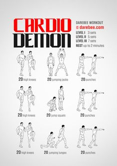 """The most important factor for improving cardiorespiratory fitness (cardio or CR) is the intensity of the workout. Changes in CR fitness are directly related to how """"hard"""" an aerobic exercise is performed. Darbee Workout, Body Pump Workout, Cardio Workout At Home, Boxing Workout, Gym Workouts, At Home Workouts, Short Workouts, Dumbbell Workout, Workout Fitness"""