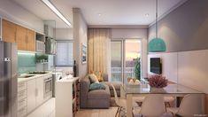 Portfólio Maquete Eletrônica - Fyr Studio Sweet Home, Portfolio, Open Plan, Kitchen Cabinets, Loft, Real Estate, Living Room, Architecture, Table