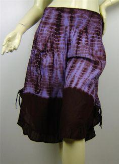FESTIVAL - 3/4 Shirred Cotton Hippie Tie Dye Frilled Pants Size 8 - 14 Au